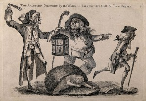 A nightwatchman disturbs a body-snatcher who has dropped the