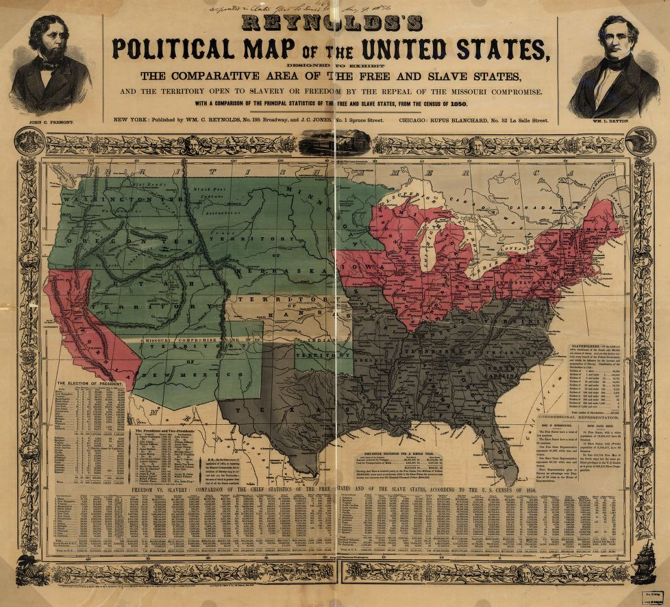 map of the us circa 1850 showing free slave states